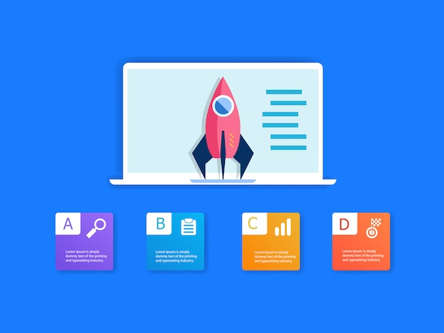 Foguete no laptop e infográficos 4 etapas