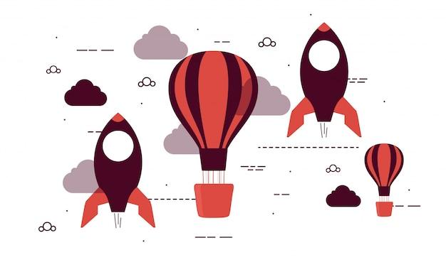 Foguete plano e balões de ar quente para business start up.