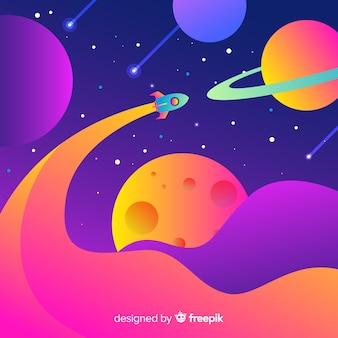 Foguete plano gradiente no espaço
