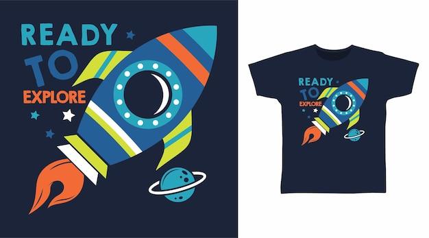 Foguete pronto para explorar o design de camisetas