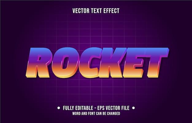 Foguete retro gradiente modelo de efeito de texto editável