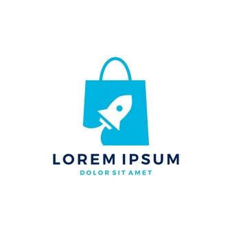 Foguete saco de compras logotipo vetor impulso inicialização lançamento download