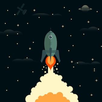 Foguete sai ilustração vetorial de espaço