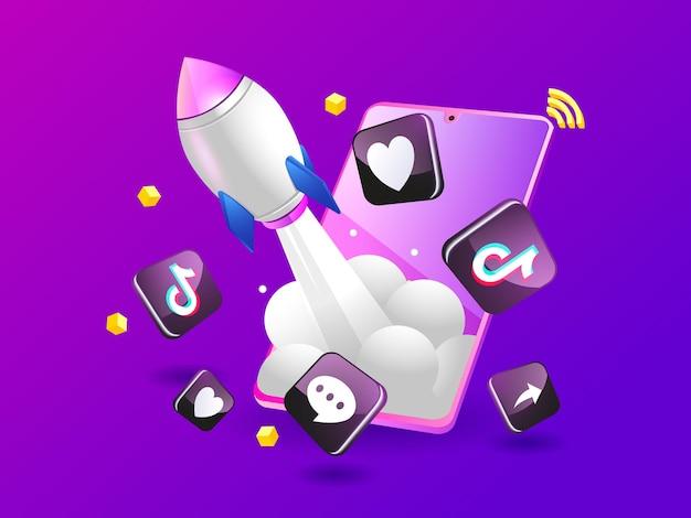 Foguete tiktok impulsionando a mídia social com smartphone