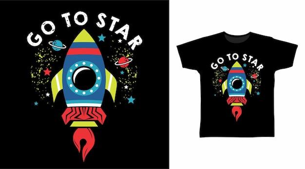 Foguete vai para estrela no design de camisetas