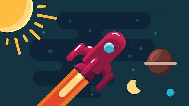 Foguete vermelho fazendo exploração espacial