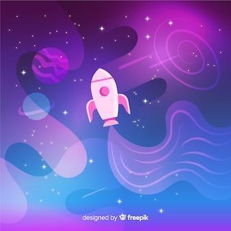 Foguete viajando através do fundo colorido gradiente de espaço