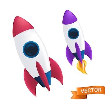 Foguete voador com chama ou fogo da turbina. ilustração com o lançamento de uma nave espacial ou ônibus espacial isolado no fundo branco