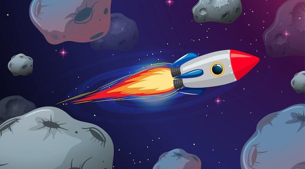 Foguete voando através de astriods