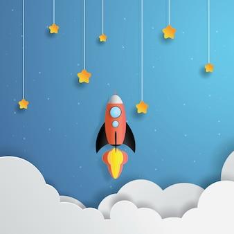 Foguete voando no espaço, estrela de enforcamento, arte de papel, papel cortado, vetor de artesanato