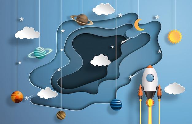 Foguete voando no espaço