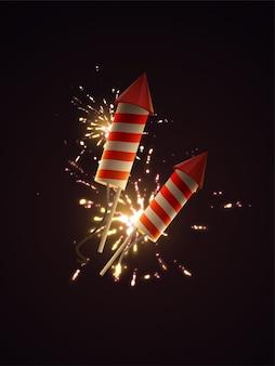 Foguetes de fogos de artifício com explosões de fogos de artifício cintilantes.