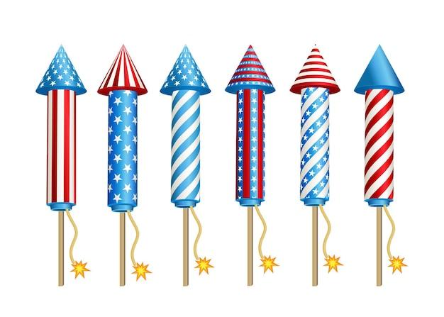 Foguetes de fogos de artifício nas cores da bandeira nacional americana