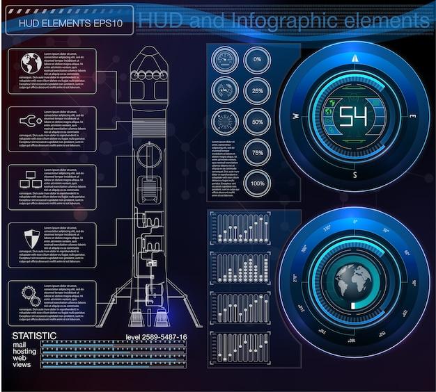 Foguetes de interface de lançamento espacial, display gráfico controla o foguete de paletes. hud sky-fi.