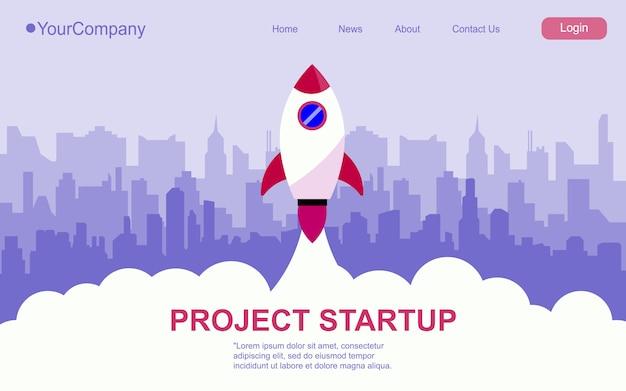 Foguetes de papel voando pela cidade. conceito de negócio de inicialização. desenhar arte e artesanato em papel. página da web, ilustração da página de destino.