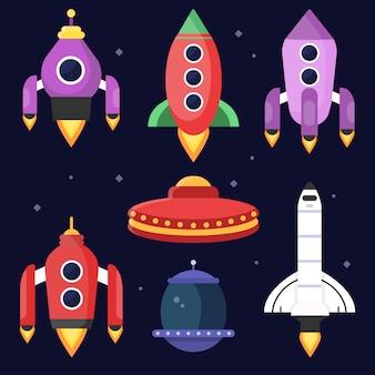 Foguetes e ônibus espaciais.