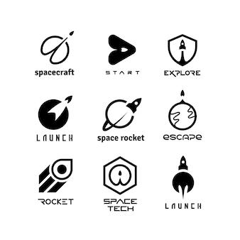 Foguetes, lançando ônibus espaciais, viagens espaciais, nave espacial e start-up vetor logotipos isolados