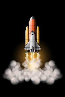 Foguetes são lançados para levar a espaçonave ao espaço sideral. conjunto isolado de lançamento de foguete.