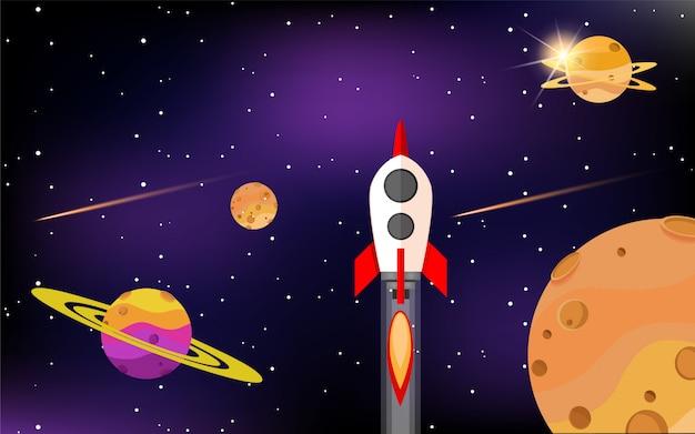 Foguetes voam entre belos planetas na galáxia