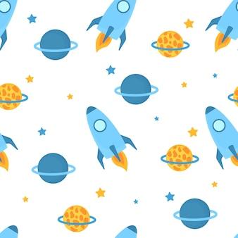 Foguetes voam no espaço com padrão sem emenda de planetas e estrelas.