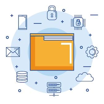 Folder arquivo documento digital internet seguro e-mail nuvem dados