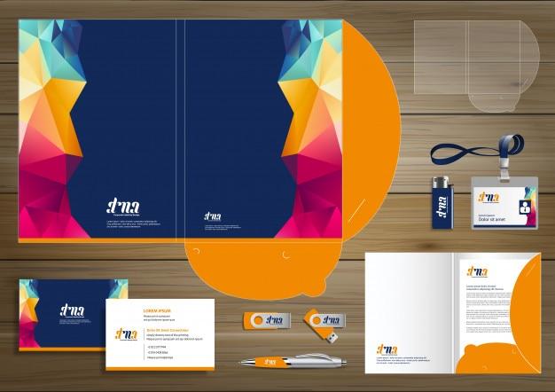 Folder corporate identity design promoção papelaria