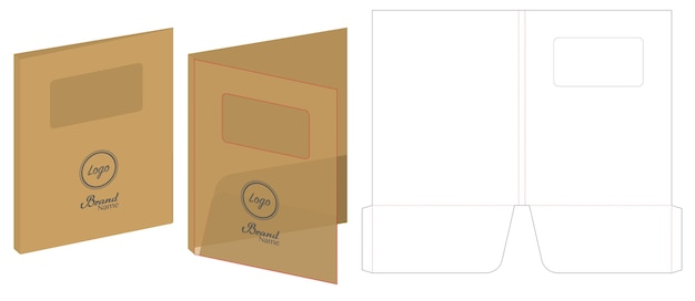 Folder die cut mock up vetor de modelo