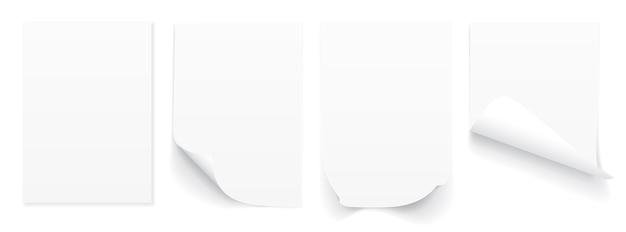 Folha a4 em branco de papel branco com canto enrolado e sombra.