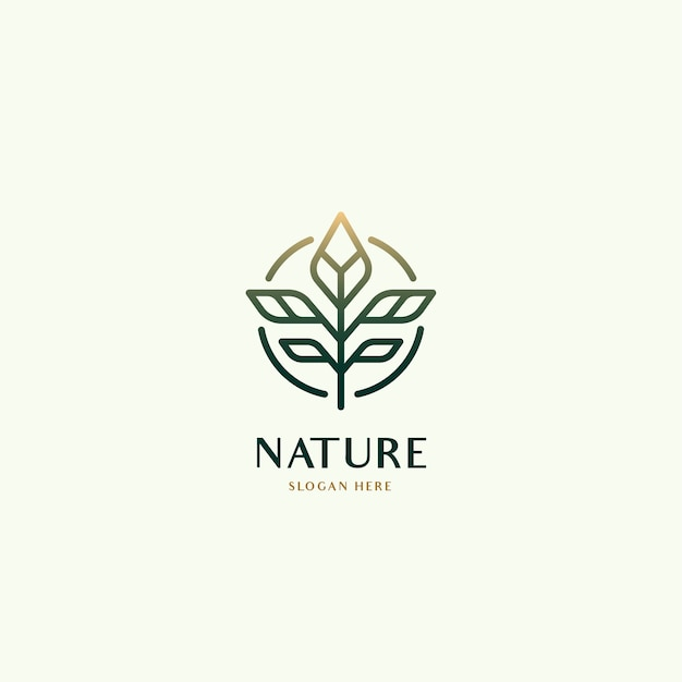 Folha botânica conceito de logotipo de luxo orgânico natural