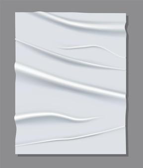 Folha branca realista de papel amassado.