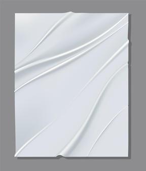 Folha branca realista de papel amassado