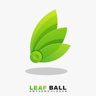 Folha colorida e modelo de vetor de ilustração de logotipo de bola