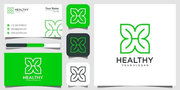 Folha com a letra h modelo de design de logotipo feito com folhas e a letra h com linhas simples