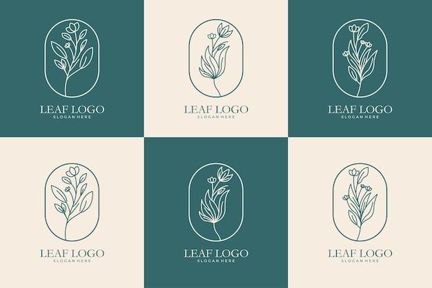 Folha com coleção de design de logotipo de arte de linha