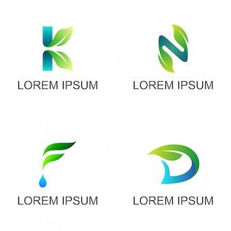Folha com conjunto de logotipo de carta inicial
