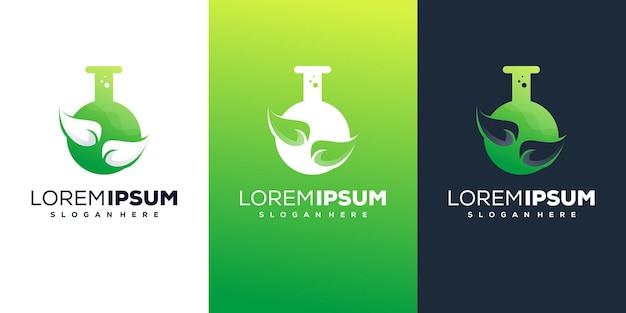 Folha com design de logotipo de laboratório