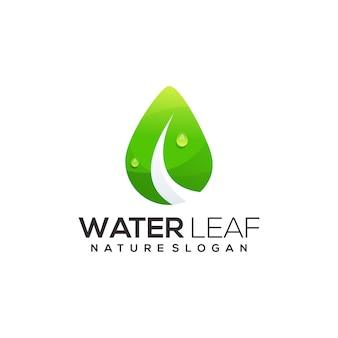 Folha com gota de água gradiente de ilustração de logotipo