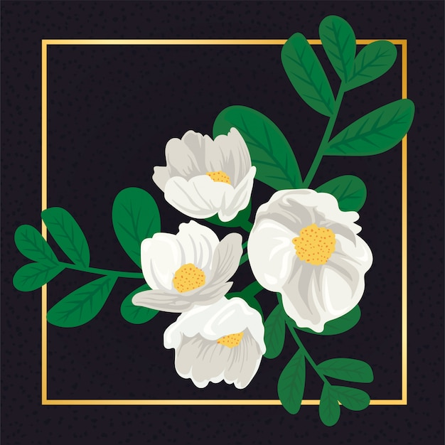 Folha da flor branca do vintage