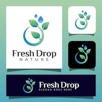 Folha da natureza e logotipo puro da gota da água. logotipo do azeite pode ser usado para cuidados com a pele, beleza da natureza, cosméticos e óleo de sabão