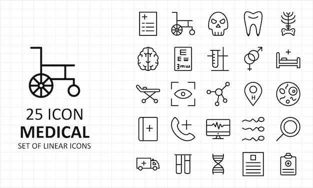 Folha de 25 ícones médicos