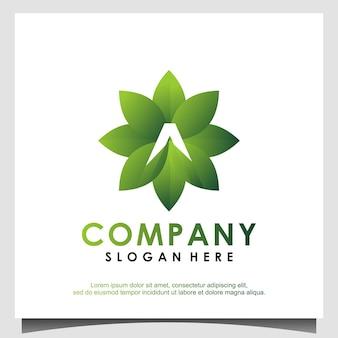 Folha de agricultura com vetor de design de logotipo a inicial