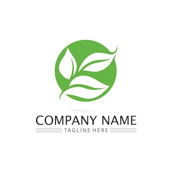 Folha de árvore e conceito amigável de design de logotipo verde