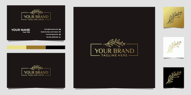 Folha de beleza com moldura dourada logotipo e cartão de visita