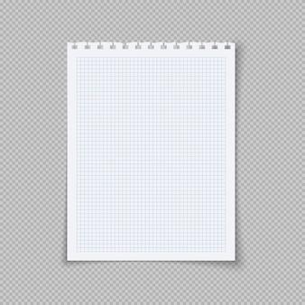 Folha de caderno de papel quadriculado papel de caderno quadriculado em branco para dever de casa e exercícios