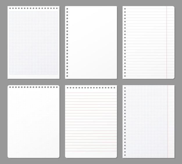 Folha de caderno. folhas rasgadas do caderno, nota de papel alinhada página e bloco de notas caderno acolchoado conjunto de ilustração de papel