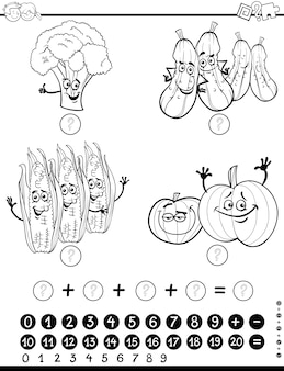 Folha de cálculo da atividade de matemática para colorir