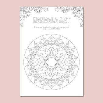 Folha de cálculo da natureza para colorir mandala geométrica floral