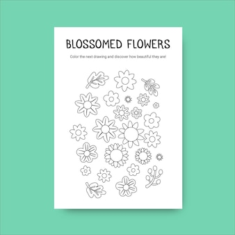 Folha de cálculo de primavera para colorir flores florais