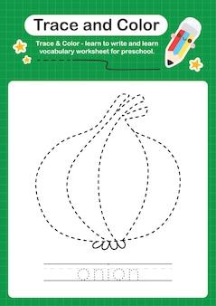 Folha de cálculo pré-escolar com traços de cebola e cores para crianças praticarem a escrita