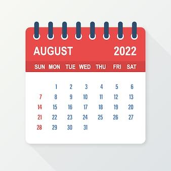 Folha de calendário de agosto de 2022. calendário 2022 em estilo simples. ilustração vetorial.